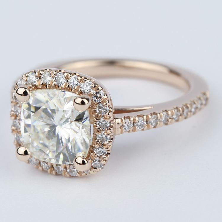 Square Halo Cushion Diamond Ring in Rose Gold (2.50 Carat) angle 2