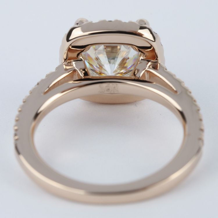 Square Halo Cushion Diamond Ring in Rose Gold (2.50 Carat) angle 4