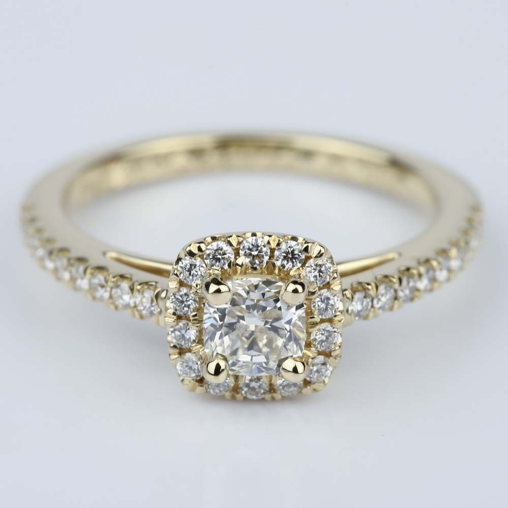 Square Halo Cushion Diamond Engagement Ring in Yellow Gold 0 41 ct
