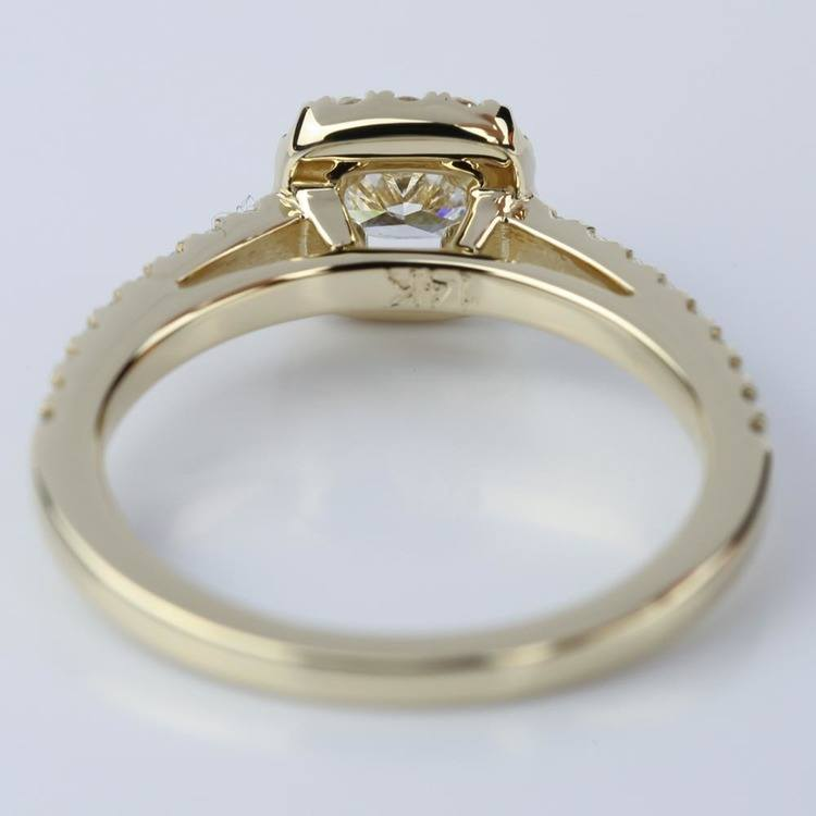 Square Halo Cushion Diamond Engagement Ring in Yellow Gold (0.41 ct.) angle 4