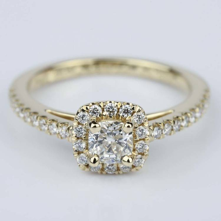 Square Halo Cushion Diamond Engagement Ring in Yellow Gold (0.41 ct.)