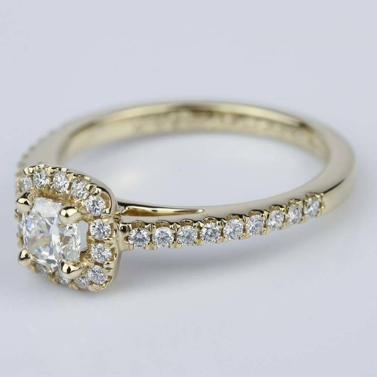 Square Halo Cushion Diamond Engagement Ring in Yellow Gold (0.41 ct.) angle 2