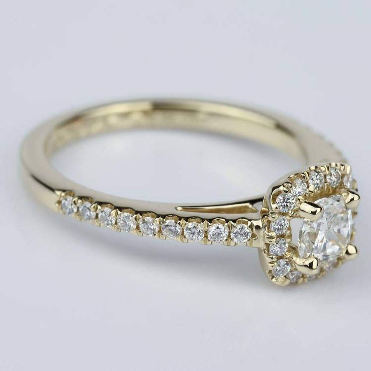 Square Halo Cushion Diamond Engagement Ring in Yellow Gold (0.41 ct.) angle 3