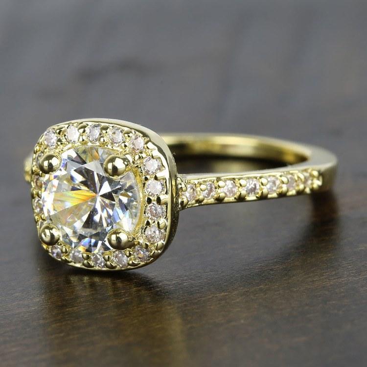 Square Halo Diamond Engagement Ring (1 Carat) angle 2