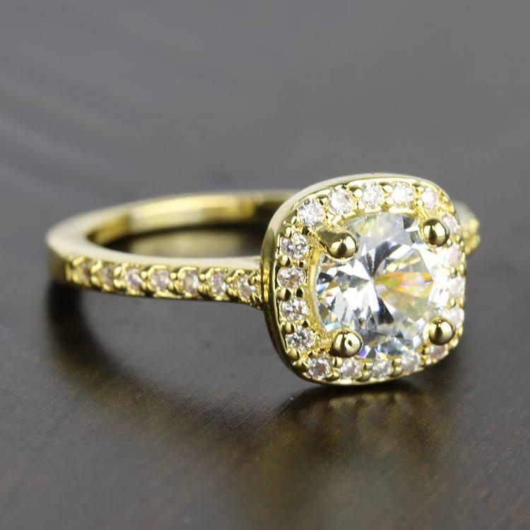 Square Halo Diamond Engagement Ring (1 Carat) angle 3