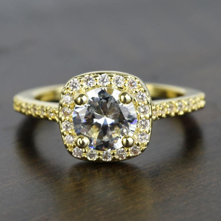 Square Halo Diamond Engagement Ring (1 Carat)