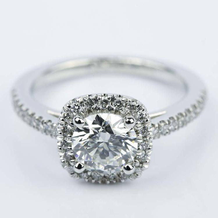 Square Halo Micro-Pave Diamond Engagement Ring (1.24 ct.)