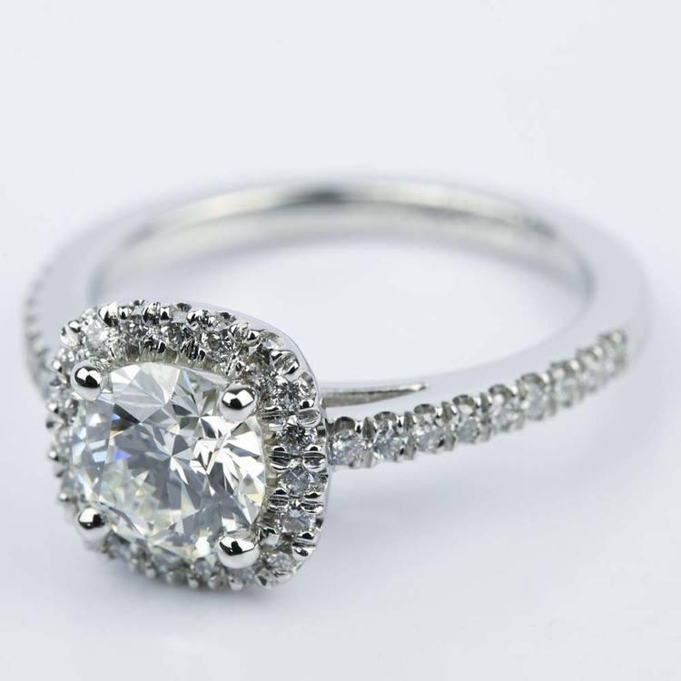 Square Halo Micro-Pave Diamond Engagement Ring (1.24 ct.) angle 2