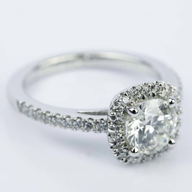 Square Halo Micro-Pave Diamond Engagement Ring (1.24 ct.) angle 3