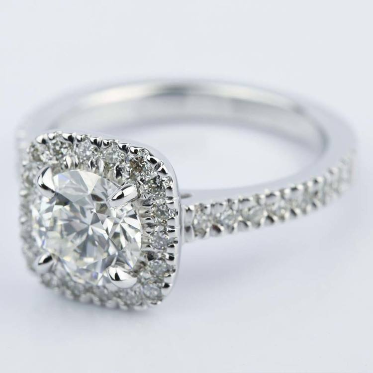 Square Halo Micro-Pave Diamond Engagement Ring (1.50 ct.) angle 2
