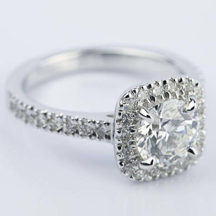 Square Halo Micro-Pave Diamond Engagement Ring (1.50 ct.) angle 3