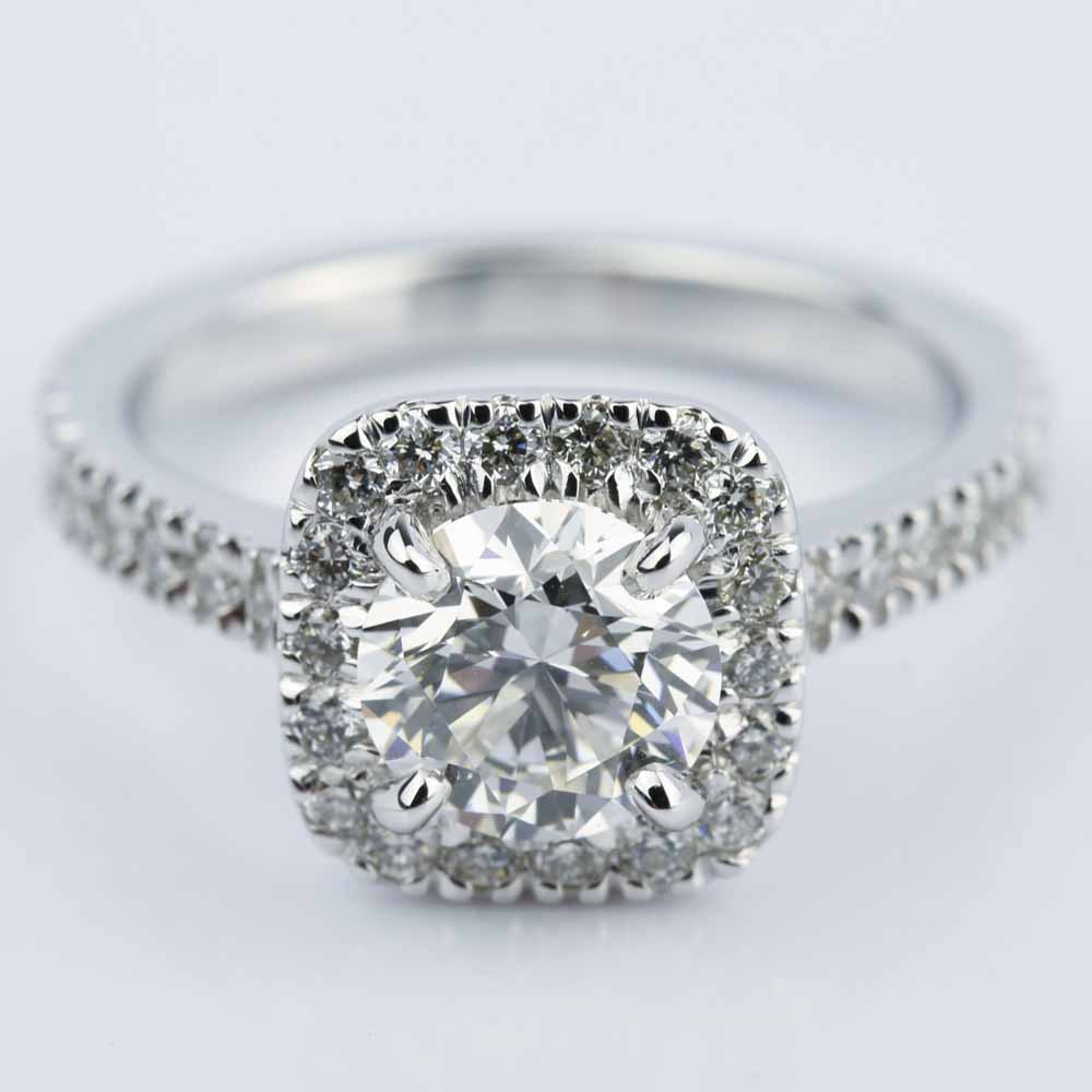 square halo micro pave diamond engagement ring ct. Black Bedroom Furniture Sets. Home Design Ideas