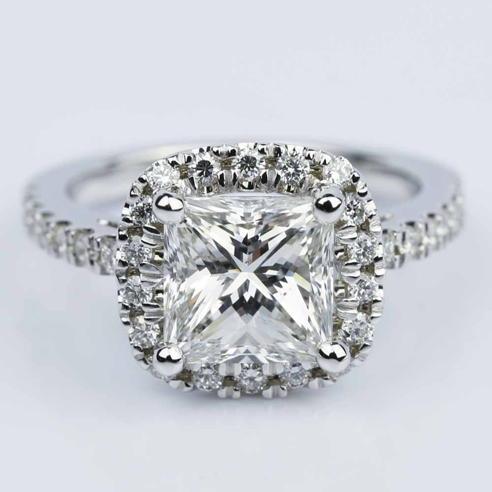 Square Halo Princess Diamond Engagement Ring 2 00 ct