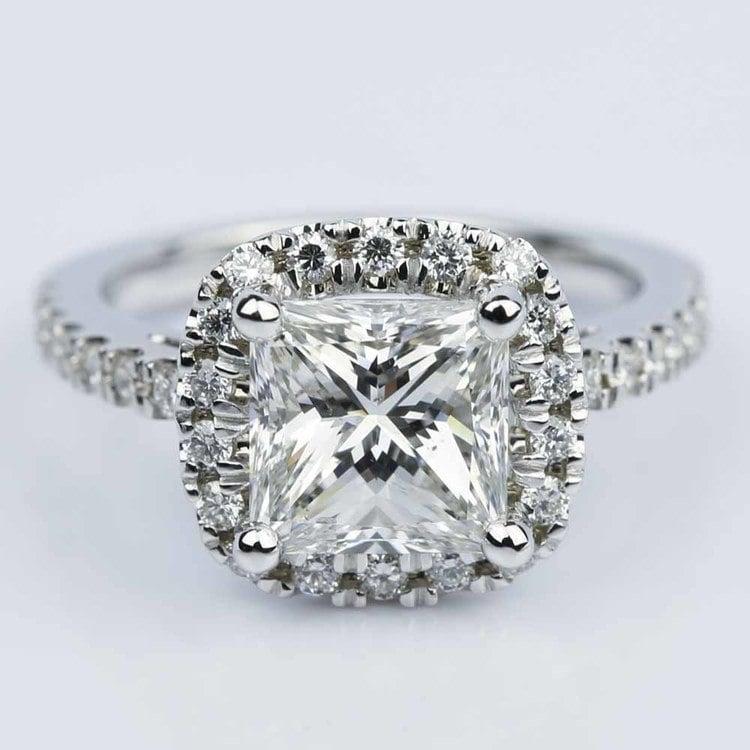 Square Halo Princess Diamond Engagement Ring 2 00 ct
