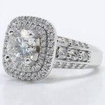 Heirloom 2 Carat Round Double Halo Diamond Engagement Ring - small angle 2