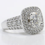 Heirloom 2 Carat Round Double Halo Diamond Engagement Ring - small angle 3