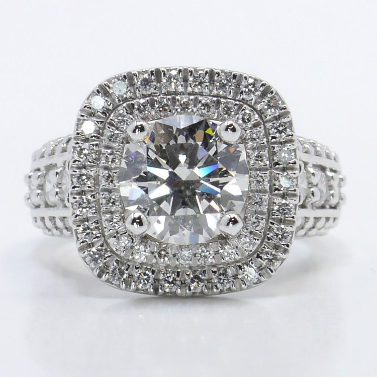 Heirloom 2 Carat Round Double Halo Diamond Engagement Ring