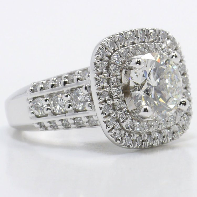 Heirloom 2 Carat Round Double Halo Diamond Engagement Ring angle 3