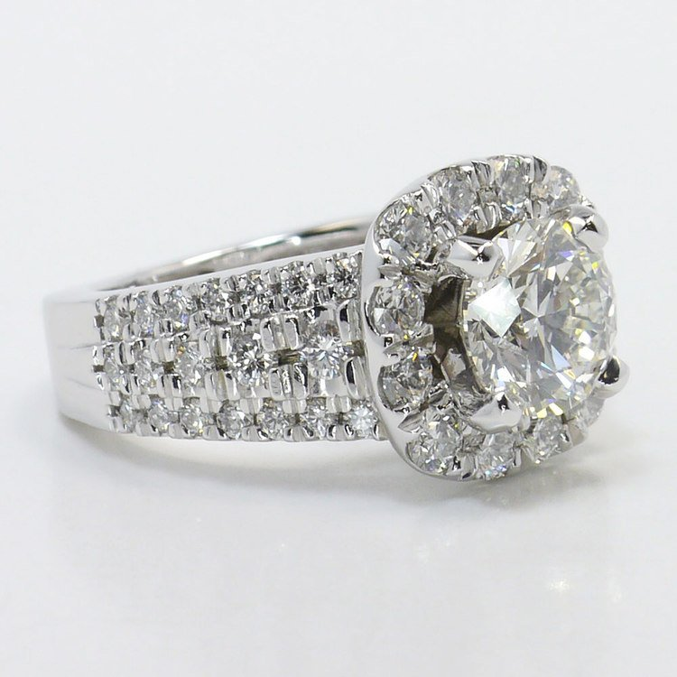 Statement Halo Diamond Ring with Floral Gallery Detail angle 3