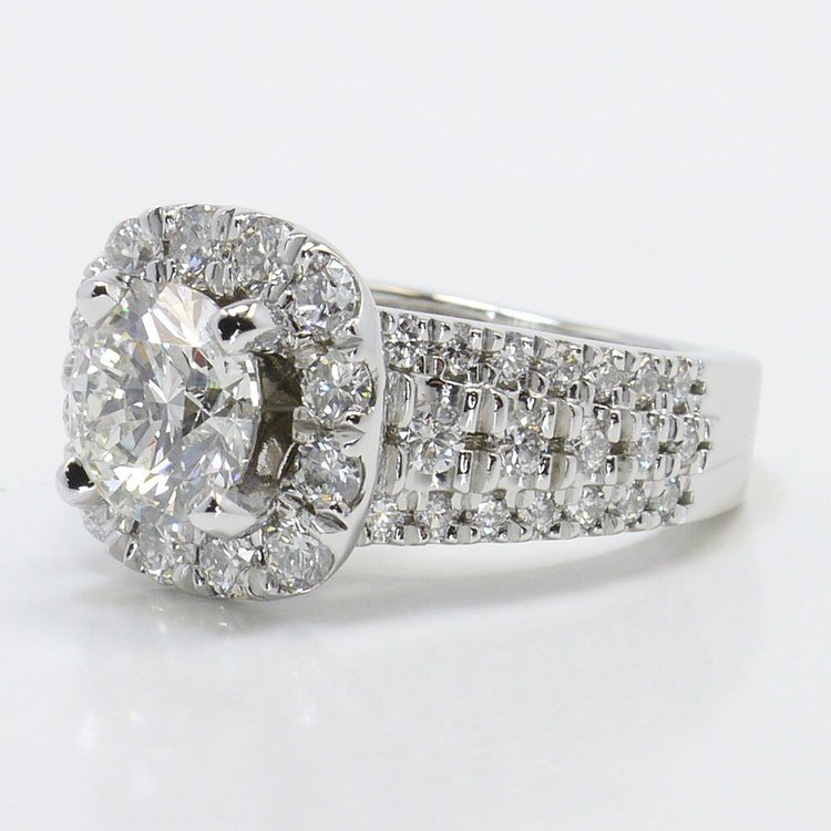 Statement Halo Diamond Ring with Floral Gallery Detail angle 2