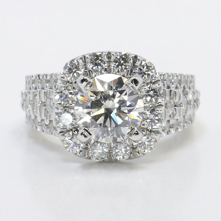 Statement Halo Diamond Ring with Floral Gallery Detail