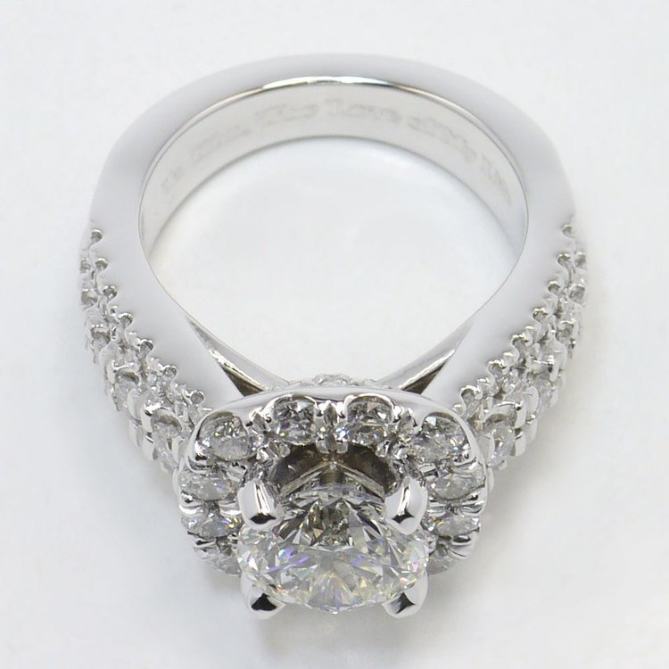 Statement Halo Diamond Ring with Floral Gallery Detail angle 4
