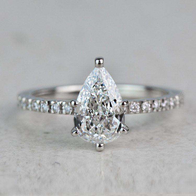 Stunning 1.03 Carat Pear Diamond Pave Engagement Ring