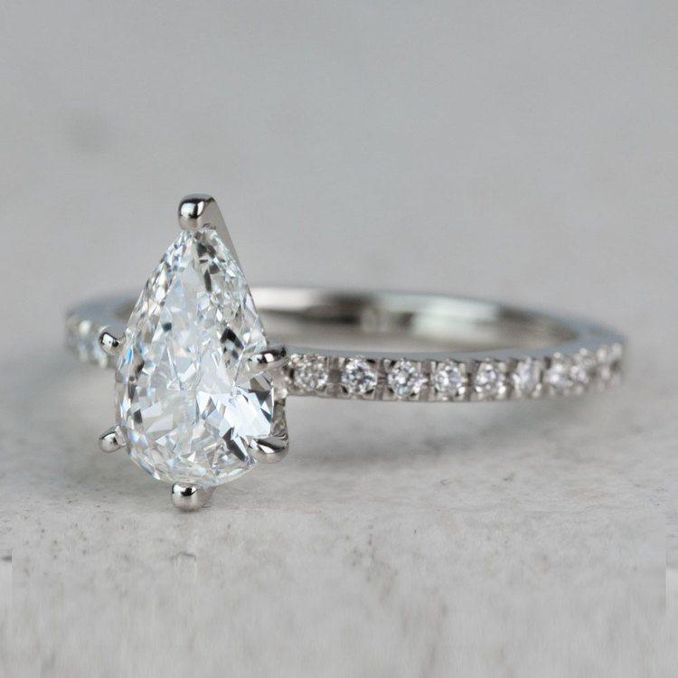 Stunning 1.03 Carat Pear Diamond Pave Engagement Ring  angle 2