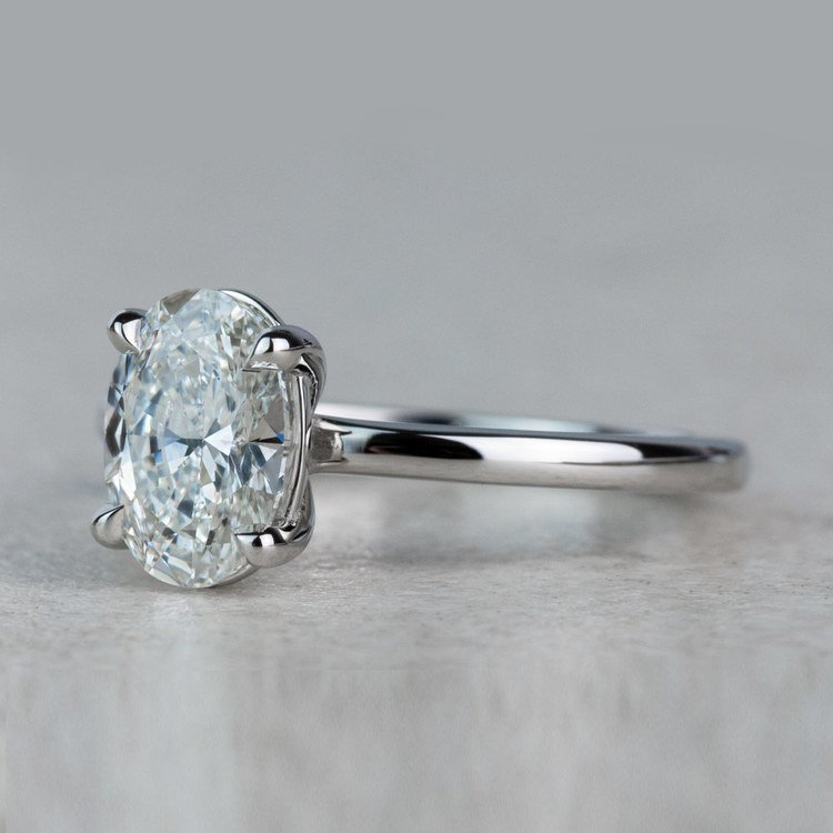 Stunning 1 Carat Oval Diamond Solitaire Engagement Ring angle 2