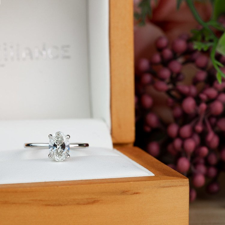 Stunning 1 Carat Oval Diamond Solitaire Engagement Ring angle 5