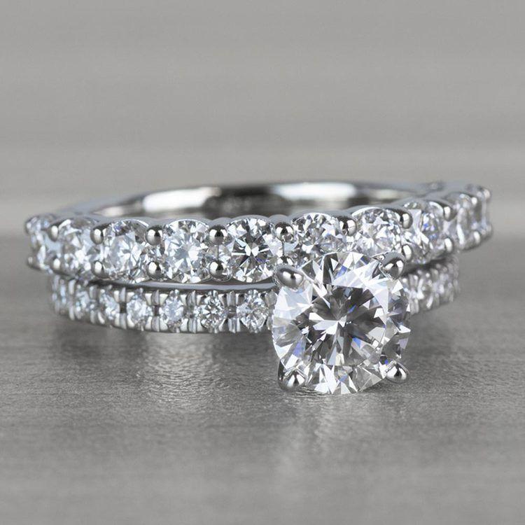 Stunning 1 Carat Petite Pave Diamond Engagement Ring angle 3