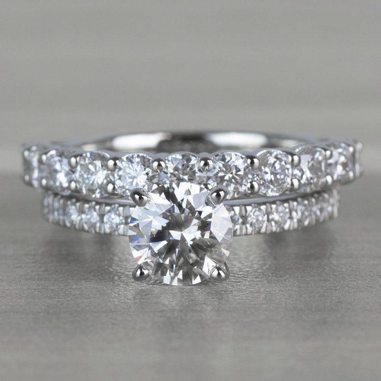 Stunning 1 Carat Petite Pave Diamond Engagement Ring