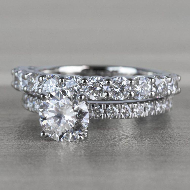 Stunning 1 Carat Petite Pave Diamond Engagement Ring angle 2
