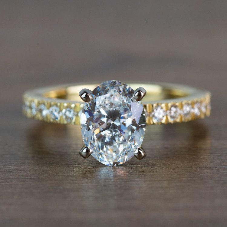 Stunning 2 Carat Oval Petite Pave Diamond Engagement Ring