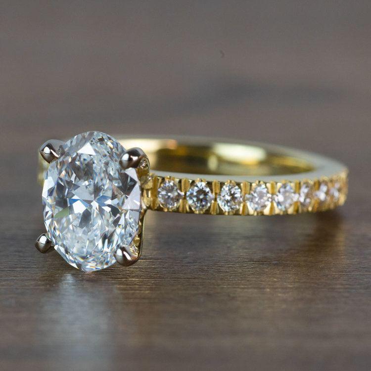 Stunning 2 Carat Oval Petite Pave Diamond Engagement Ring  angle 2
