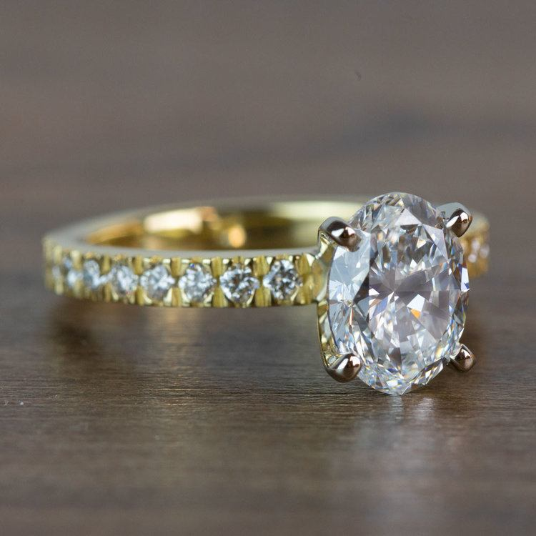 Stunning 2 Carat Oval Petite Pave Diamond Engagement Ring  angle 3