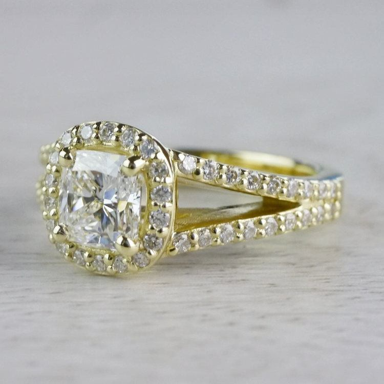 Stunning Split Band 1 Carat Cushion Cut Diamond Ring angle 2