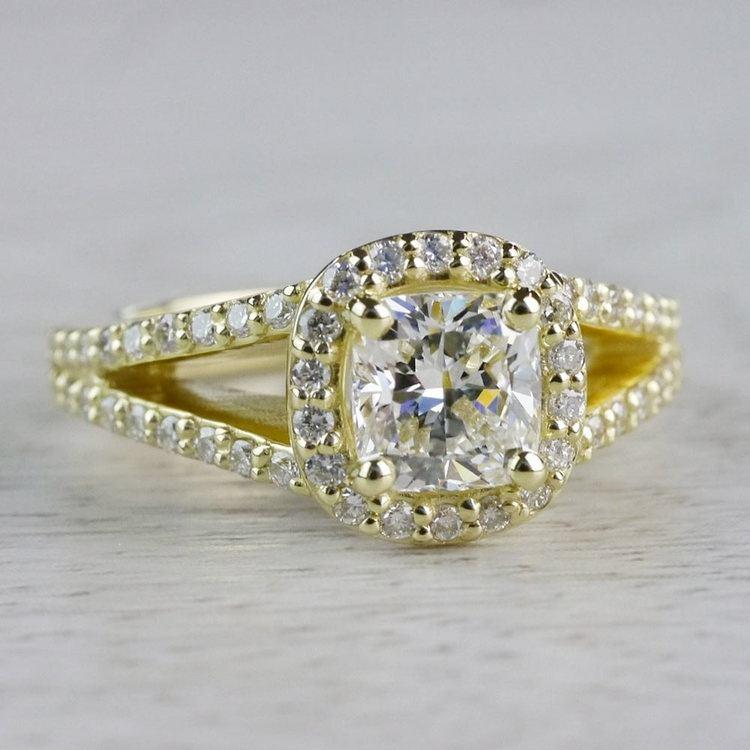 Stunning Split Band 1 Carat Cushion Cut Diamond Ring angle 3