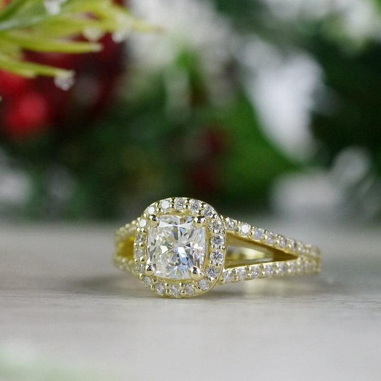 Stunning Split Band 1 Carat Cushion Cut Diamond Ring angle 5