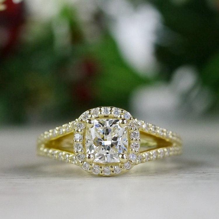 Stunning Split Band 1 Carat Cushion Cut Diamond Ring | 06