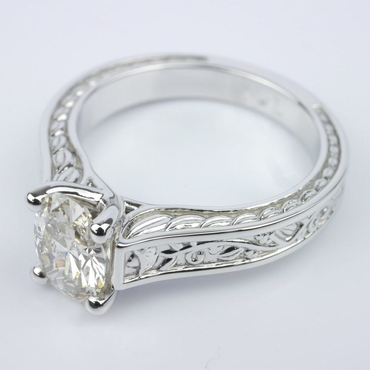 Stunning Antique Floral Solitaire Engagement Ring angle 2