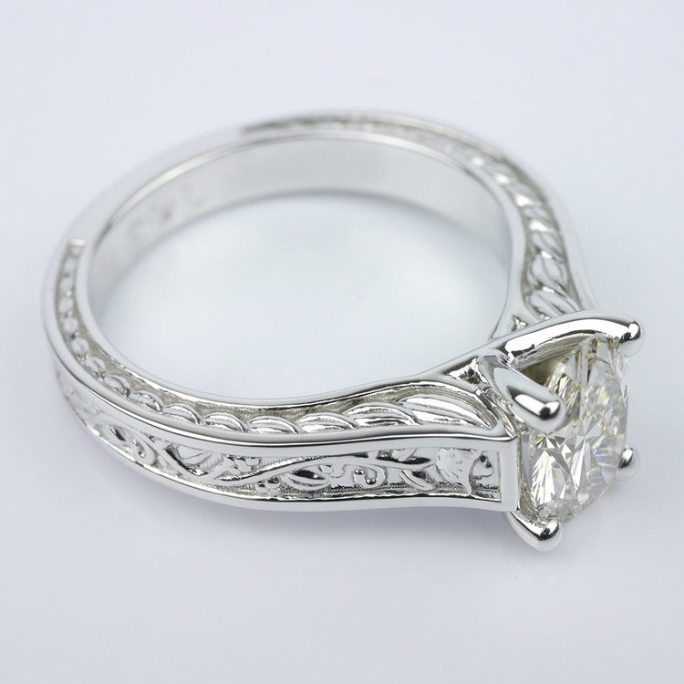 Stunning Antique Floral Solitaire Engagement Ring angle 3