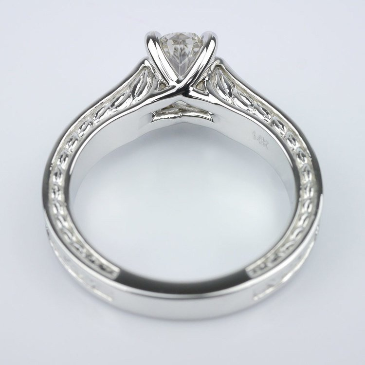 Stunning Antique Floral Solitaire Engagement Ring angle 4
