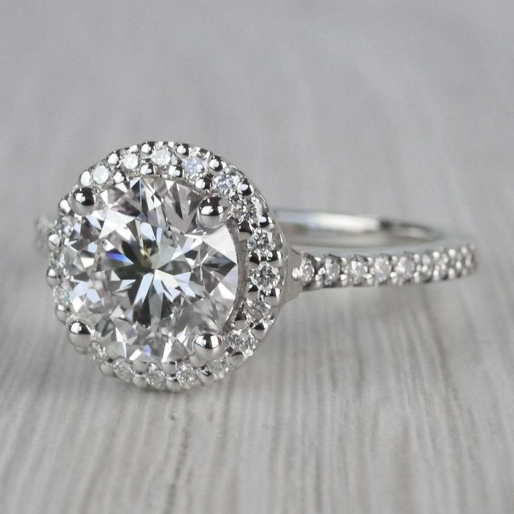 Stunning Halo Setting Engagement Ring 2 Carat Diamond Ring angle 2