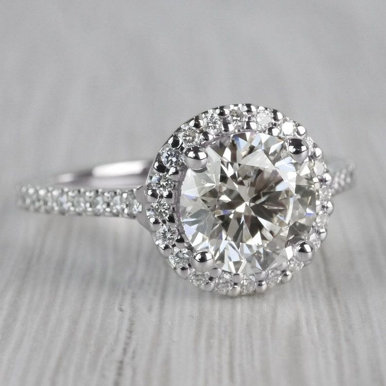 Stunning Halo Setting Engagement Ring 2 Carat Diamond Ring angle 3