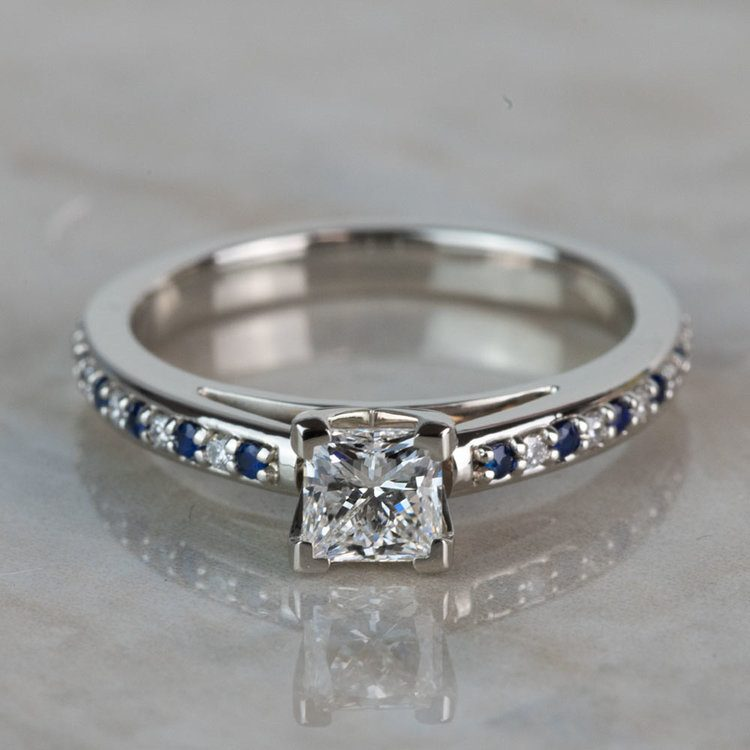 Stunning Princess Cut Cathedral Diamond & Sapphire Engagement Ring