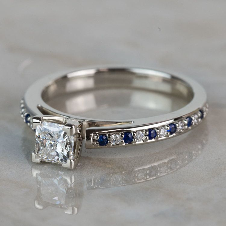 Stunning Princess Cut Cathedral Diamond & Sapphire Engagement Ring angle 2