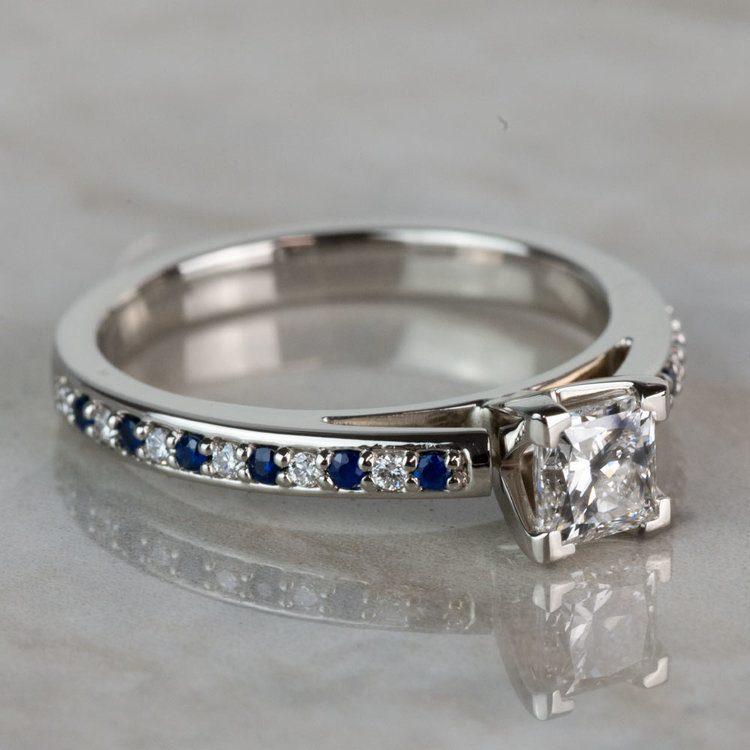 Stunning Princess Cut Cathedral Diamond & Sapphire Engagement Ring angle 3