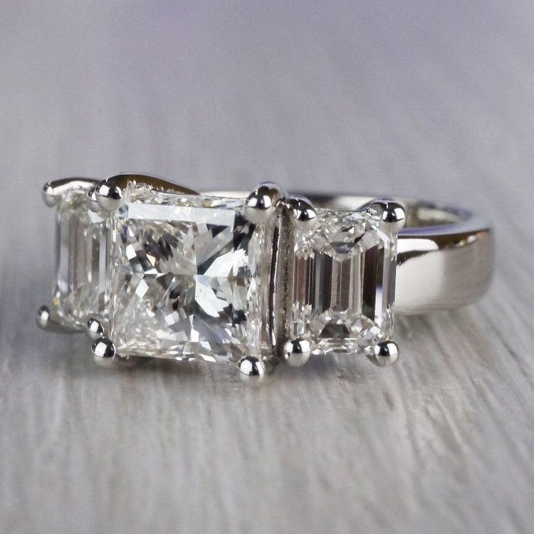 2.5 Ct. Princess Cut Diamond Ring With Side 2 Ct. Diamonds  angle 2
