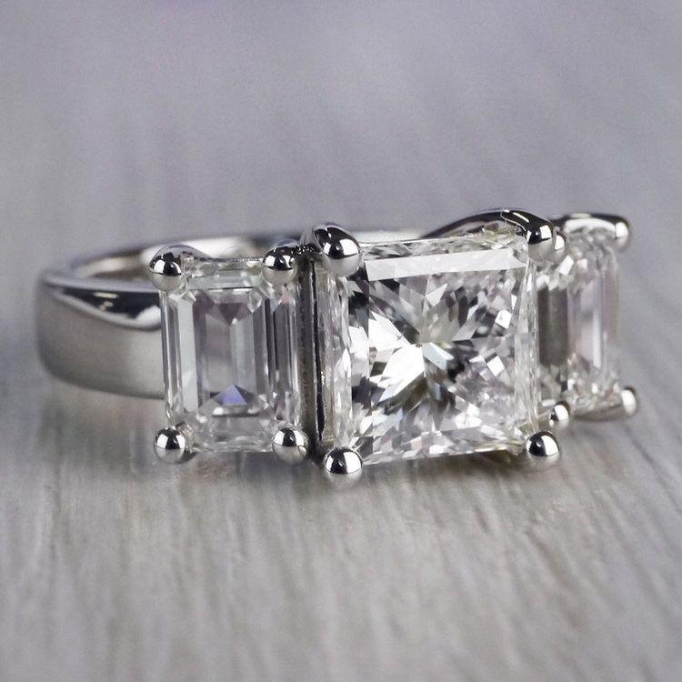 2.5 Ct. Princess Cut Diamond Ring With Side 2 Ct. Diamonds  angle 3
